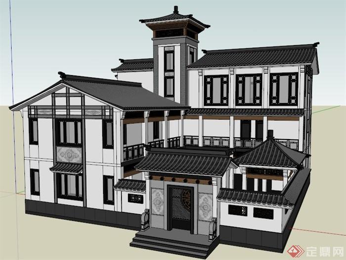 现代中式风格豪华别墅建筑设计su模型
