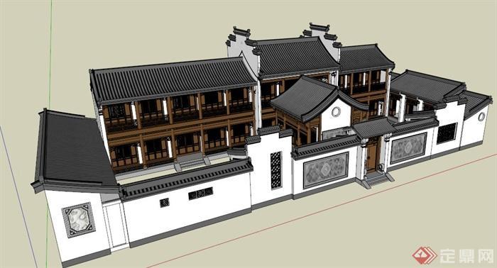 现代新中式四合院建筑设计su模型
