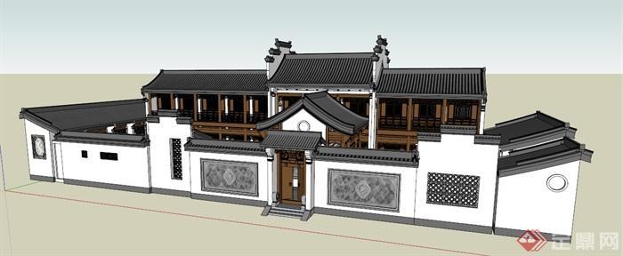 现代新中式四合院建筑设计su模型(1)图片