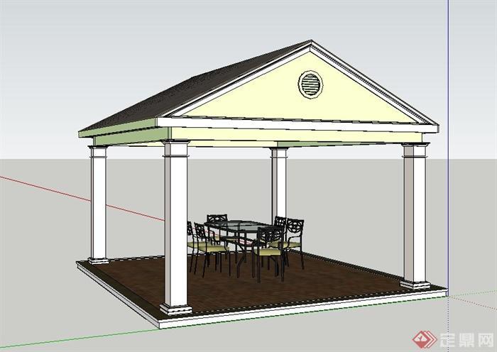 欧式四角凉亭与桌椅设计su模型