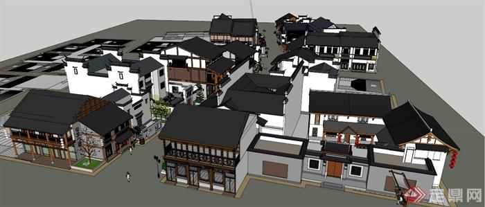 现代新中式风格商业街建筑su模型(4)图片