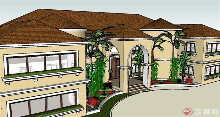 两层欧式别墅住宅建筑设计su模型(2)