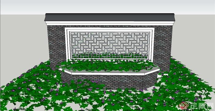 园林景观节点中式镂空景墙设计su模型(1)