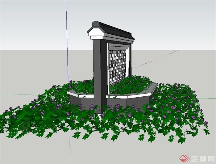 园林景观节点中式镂空景墙设计su模型(2)