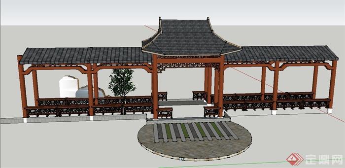 园林景观节点中式木质亭廊组合设计su模型