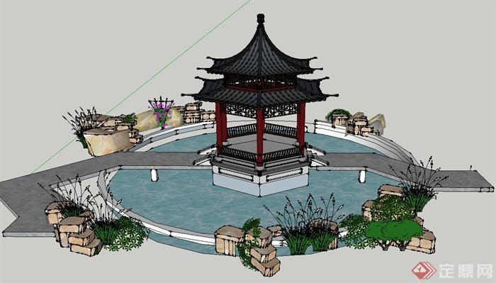 园林景观节点亭子,水景组合设计su模型(2)