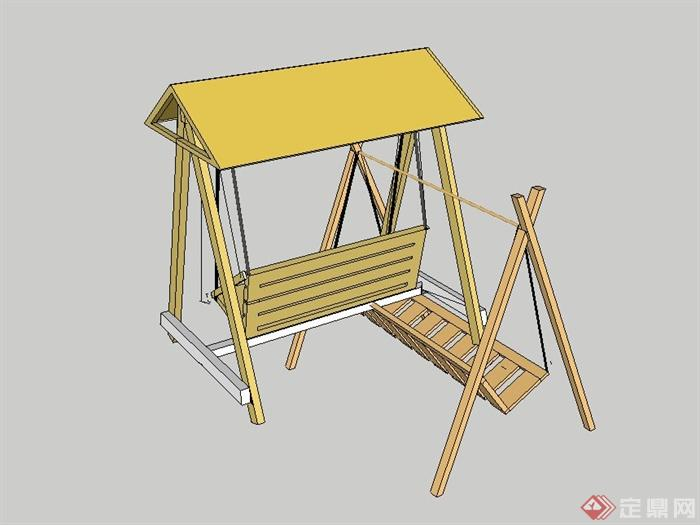 现代木质吊椅设计su模型(含廊架)(1)