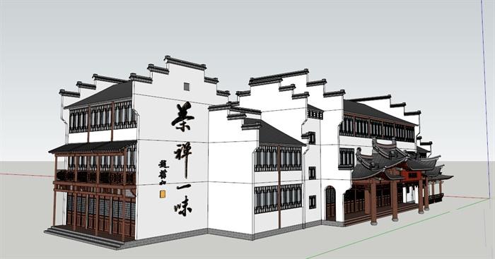 徽派新中式风格茶馆建筑设计su模型图片