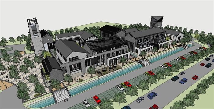 徽派新中式风格商业街建筑设计su模型图片