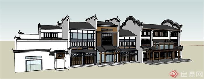 现代新中式酒楼沿街商铺建筑设计su模型(1)