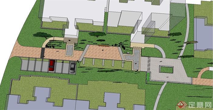 现代某宅间小广场景观设计su模型(5)