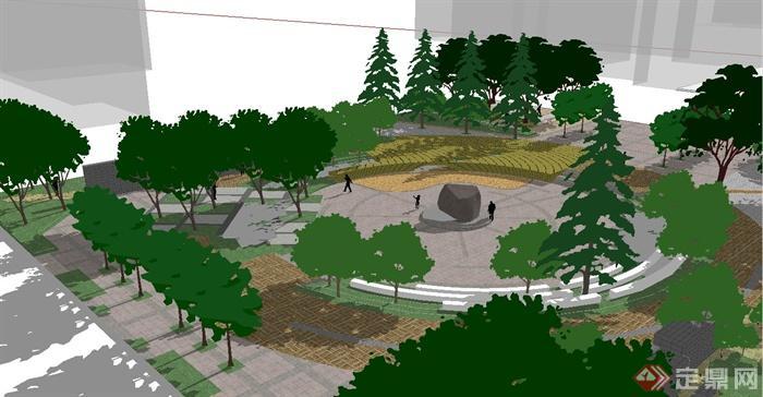 某下沉式广场景观设计su模型(3)
