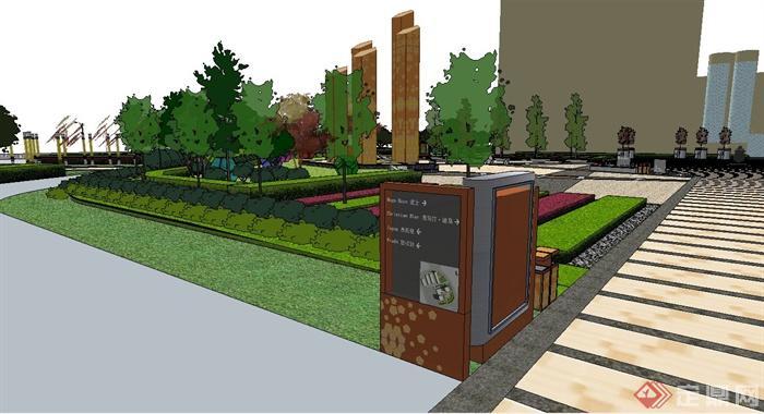 现代某商业街广场景观设计su模型[原创]