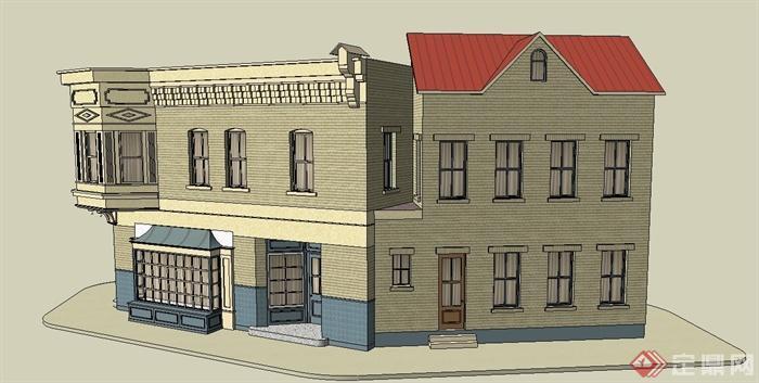 某欧式三角形住宅建筑设计su模型