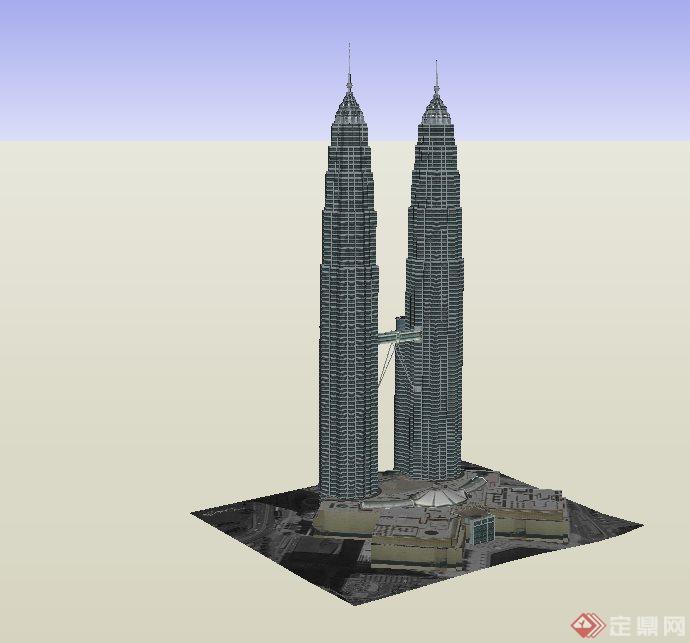 某现代超高层双塔办公建筑设计su模型(1)