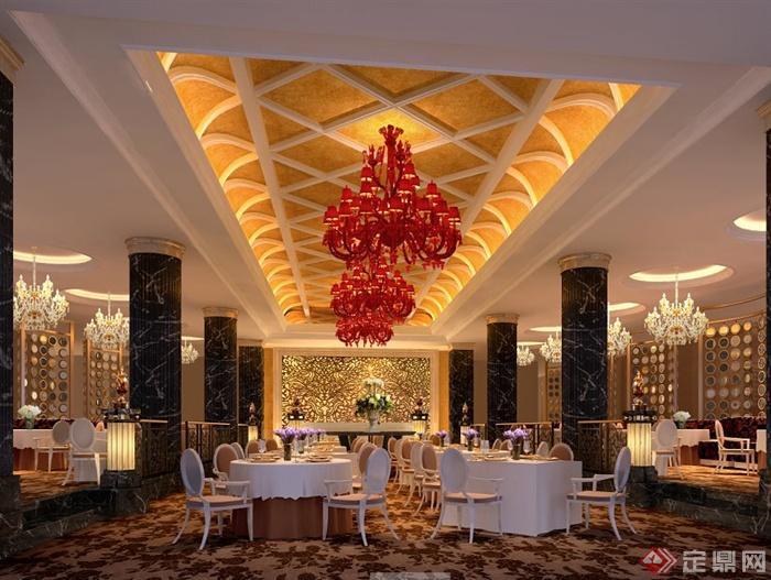欧式风格会所餐厅室内设计效果图