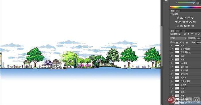 某小区公园手绘景观立面设计psd图[原创]