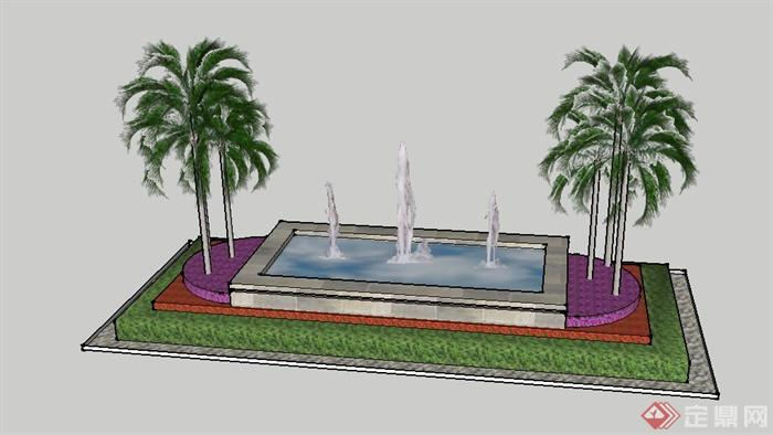 某景观节点喷泉水池景观设计su模型(1)