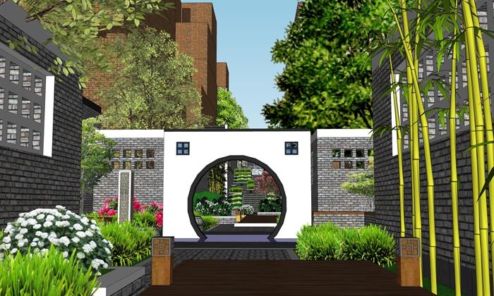 现代中式住宅巷子景观设计su模型3图片