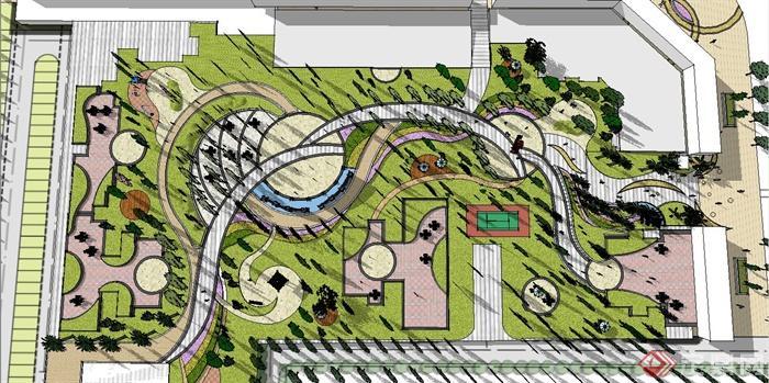 某住宅小区景观节点设计su模型(1)