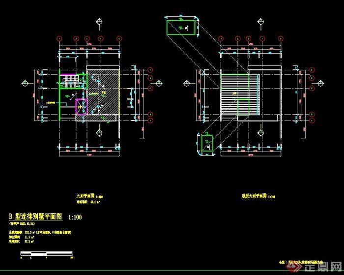 简约现代二层别墅建筑施工图图片