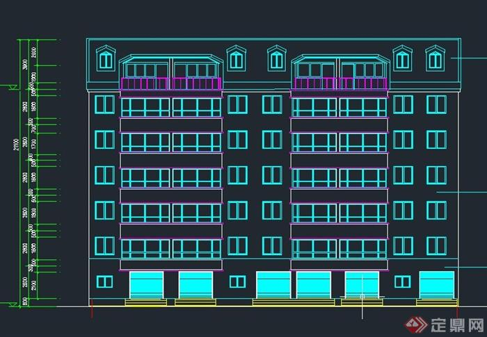 沉降缝图_五层框架结构住宅楼(两单元一梯两户顶层带阁楼)毕业设计CAD图 ...