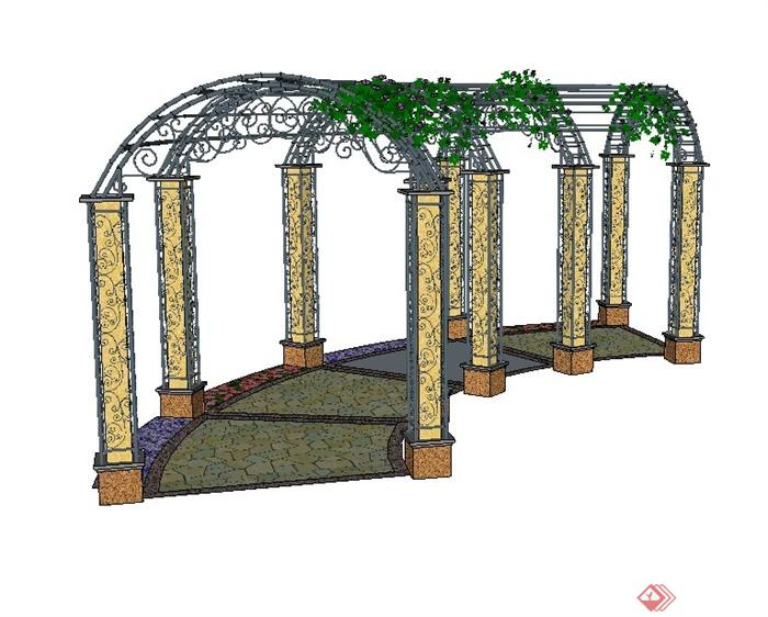 某欧式拱形长廊架设计su模型