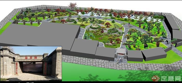 某古城内盆景园v古城CAD方案图+PSD效果图+2010CADp4图片