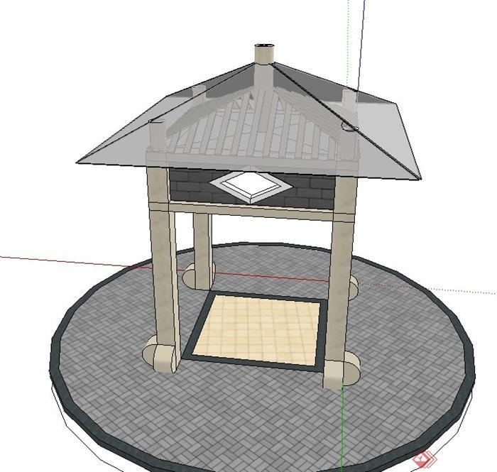 古典中式四角玻璃亭子设计su模型(1)