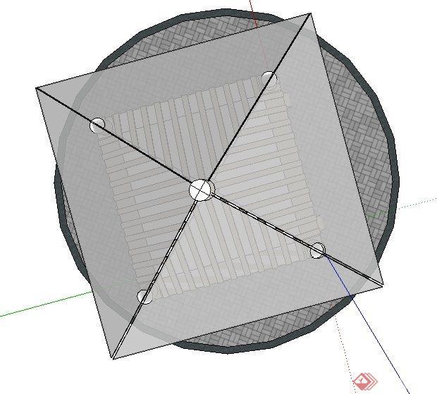 古典中式四角玻璃亭子设计su模型(3)