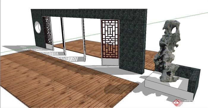 园林景观节点中式镂空扇门景墙设计su模型