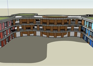 某现代教学楼建筑设计SU(草图大师)模型