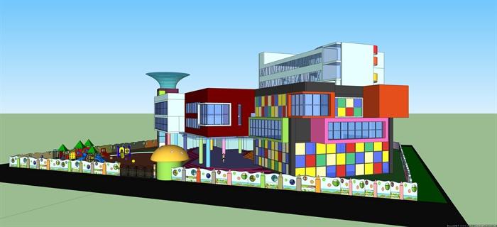 现代彩色幼儿园教学楼建筑设计su模型