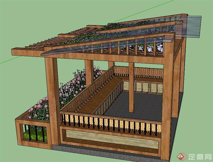 景观木制玻璃廊架设计su模型(1)