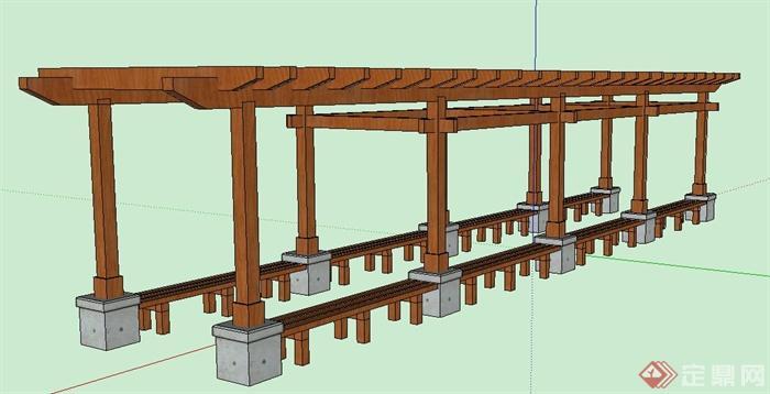 景观木质长廊架设计su模型[原创]