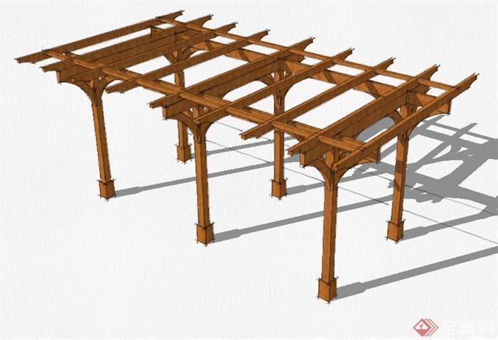 景观节点木廊架设计su模型[原创]