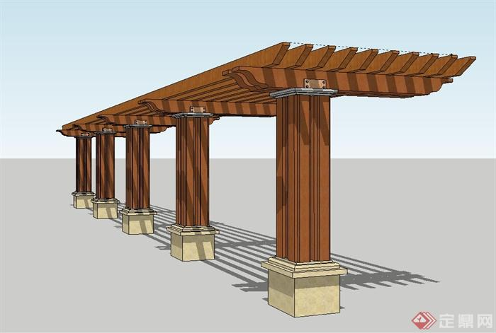 现代景观节点木质廊架su模型[原创]