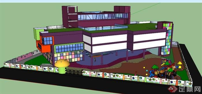 现代彩色幼儿园教学楼建筑设计su模型(2)