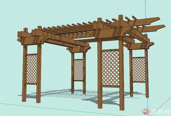 现代中式防腐木花架su模型[原创]