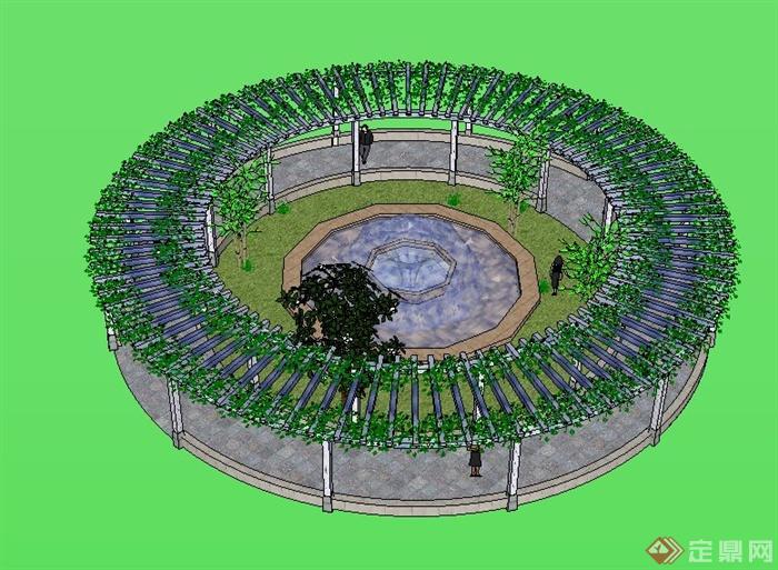 现代圆形廊架设计su模型(含喷泉水景)[原创]