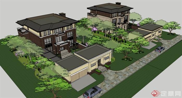 新古典三层小院别墅建筑设计su模型图片
