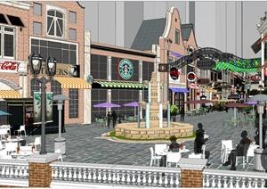 欧式某巷子商业街景观设计SU(草图大师)模型