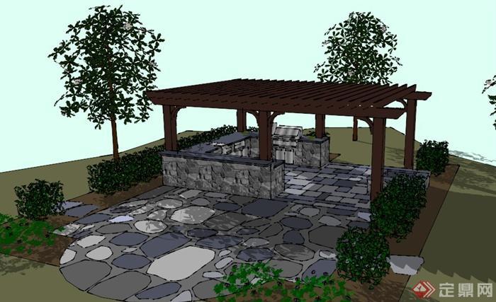 现代风格花园厨房廊架场景su模型[原创]