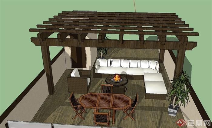 屋顶花园廊架设计su模型(1)