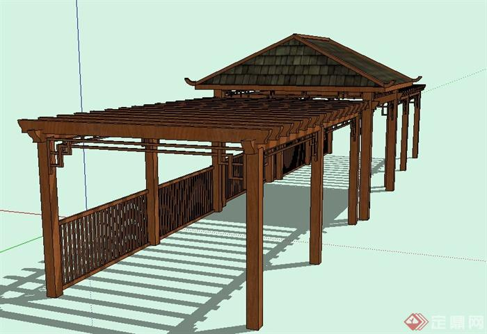 园林景观节点木质长廊亭设计su模型(3)