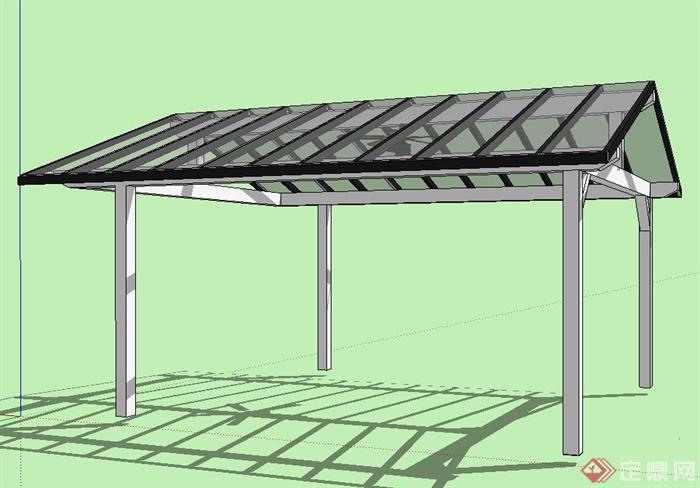 景观玻璃廊架设计su模型(3)