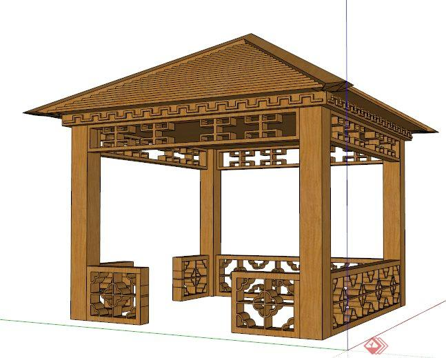 中式木制四角凉亭su模型图片