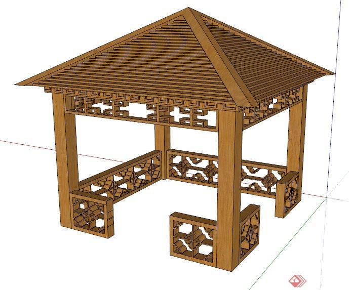 中式木制四角凉亭su模型