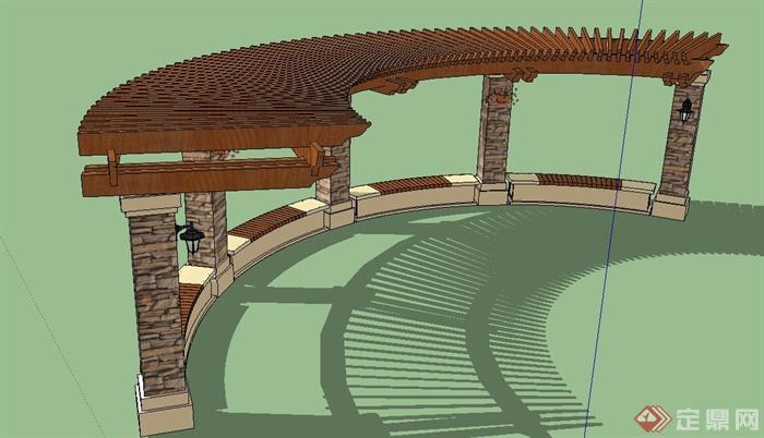 园林景观弧形单边廊架设计su模型[原创]