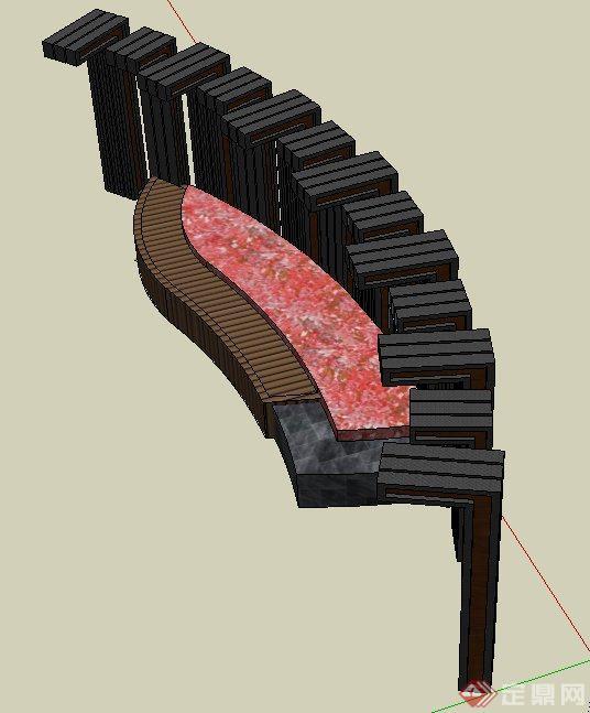 园林景观节点弧形廊架与坐凳设计su模型(2)